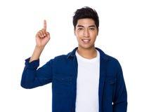 Man with finger show upwards Stock Image