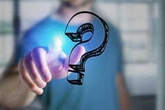 Man finger touching a question mark hand drawn icon on a futuris Royalty Free Stock Photography