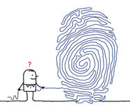 Man & fingerprint maze. Hand drawn cartoon characters - man & fingerprint maze Royalty Free Stock Photos