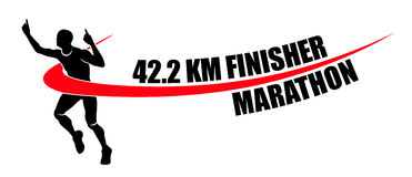 Man Finishing Champion Marathon Finisher Winner Illustration. Completing in a Marathon race. Copyspace provided in front of the word Marathon Stock Images