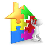 Man finishing the house puzzle. 3d rendered illustration Stock Images