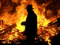 Man and fire Stock Image