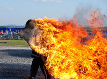 Man on fire Stock Photos