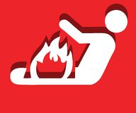 Man of fire. Attention fire danger sign on red background with shadow Stock Photography