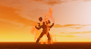 Man on fire. Soldier in hostile environment , armour being blasted off, banishment Royalty Free Stock Photography