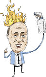 Man on Fire. A cartoon man in a suit with his hair on fire holding a water spray bottle Stock Image