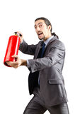 Man with fire extinguisher - firefighting concept Royalty Free Stock Photos
