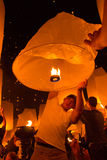 The man and the sky lantern Royalty Free Stock Photo