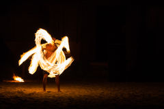 Man Fire Show on the beach Royalty Free Stock Images