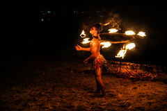 Man on Fire. Trat, Thailand - June 28 : Unidentified man is showing fire performance on June,28 2014 in Koh Kood island, Trat, Thailand Royalty Free Stock Images