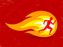 Man and fire. Vector concept for running with man and fire Stock Images