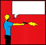 Man Fired Shot with Pistol Illustration. A man firing shots at target with speech bubble Stock Photo