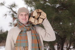 Man with firewood royalty free stock images