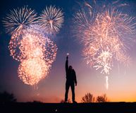 Man With Fireworks Royalty Free Stock Photography