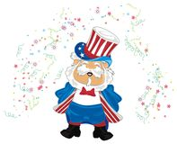 Man and fireworks. Smiling man in USa hat and costume and colored fireworks Stock Photography