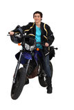 Man with first motorcycle Stock Image