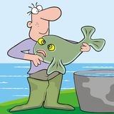Man and fish Stock Photo