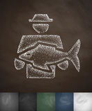 Man with fish icon. Hand drawn vector illustration. Chalkboard Design Royalty Free Stock Images