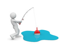 Man Fishing. 3d isolated characters on white background series Stock Photography