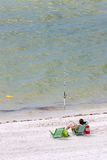 Man Fishing. On the Beach Stock Photography