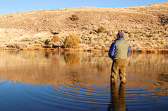 Man Fishing. A Man Fly Fishing in a lake Stock Photography