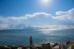 Man fishing in acre, israel Stock Image