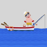 Man fishing in a boat royalty free illustration