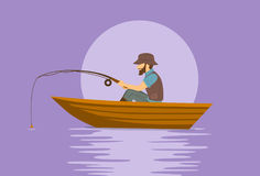 Man fishing on boat on a lake. Cartoon vector illustration Stock Photography
