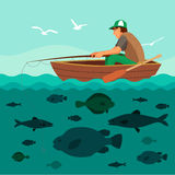 Man fishing on the boat. Lots of fish. In the sea and seagulls in the sky. Flat vector illustration Royalty Free Stock Photos