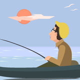 Man fishing from the boat vector catoon. Man fishing from the boat - funny vector catoon illustration Royalty Free Stock Photo