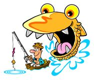 Man fishing cartoon Stock Photography