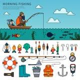 Man fishing flat line vector Stock Photography