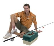 Man with fishing gear Stock Images