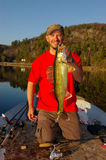 Man Fishing Holding Walleye Royalty Free Stock Photo