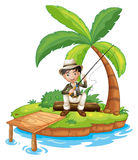 A man fishing in the island. Illustration of a man fishing in the island on a white background Stock Image