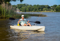 Man Fishing in Kayak Royalty Free Stock Photography