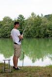 Man Fishing at a lake Stock Image