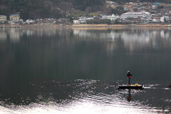 Man Fishing Lake. Royalty Free Stock Photos