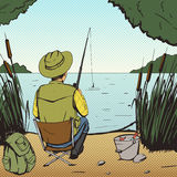 Man fishing on lake pop art style vector Stock Photos