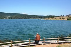 The man fishing at the lakeside Stock Photography