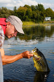 Man Fishing with Large Mouth Bass royalty free stock images