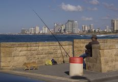 Man fishing on the Meditterranian Sea Royalty Free Stock Photo