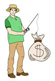 Man fishing money Royalty Free Stock Photography