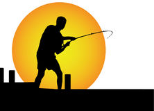 Man fishing in the moonlight Stock Photography