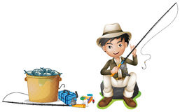 Man with fishing pole and bucket of fish. Illustration Stock Photography