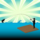 Man fishing from a raft. Colorful illustration with male silhouette catching a big fish from a wooden raft Royalty Free Stock Image