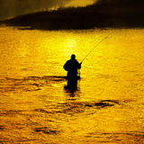 Man Fishing in River Early Morning Stock Images