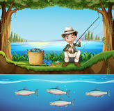 Man fishing in the river. Illustration Stock Images