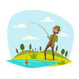 Man fishing with rod, catching vector fish on hook Royalty Free Stock Image
