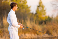Man fishing rod Royalty Free Stock Photo